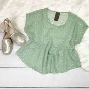 Wallpapher Mint Green Polka Dot Sheer Blouse Top